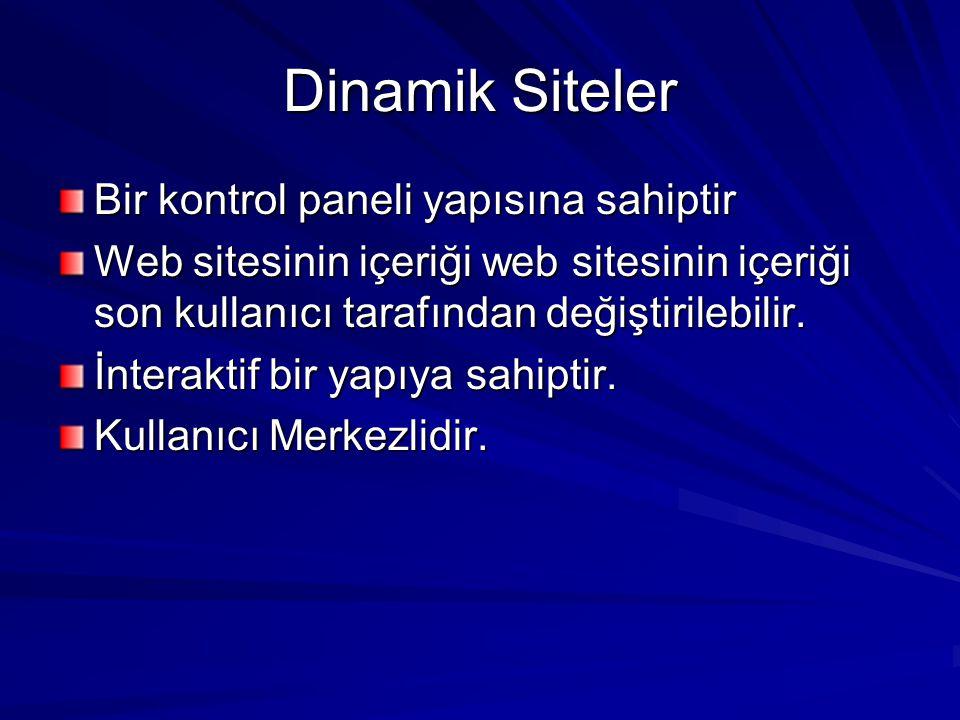 Dinamik Siteler Bir kontrol paneli yapısına sahiptir Web sitesinin içeriği web sitesinin içeriği son kullanıcı tarafından değiştirilebilir. İnteraktif