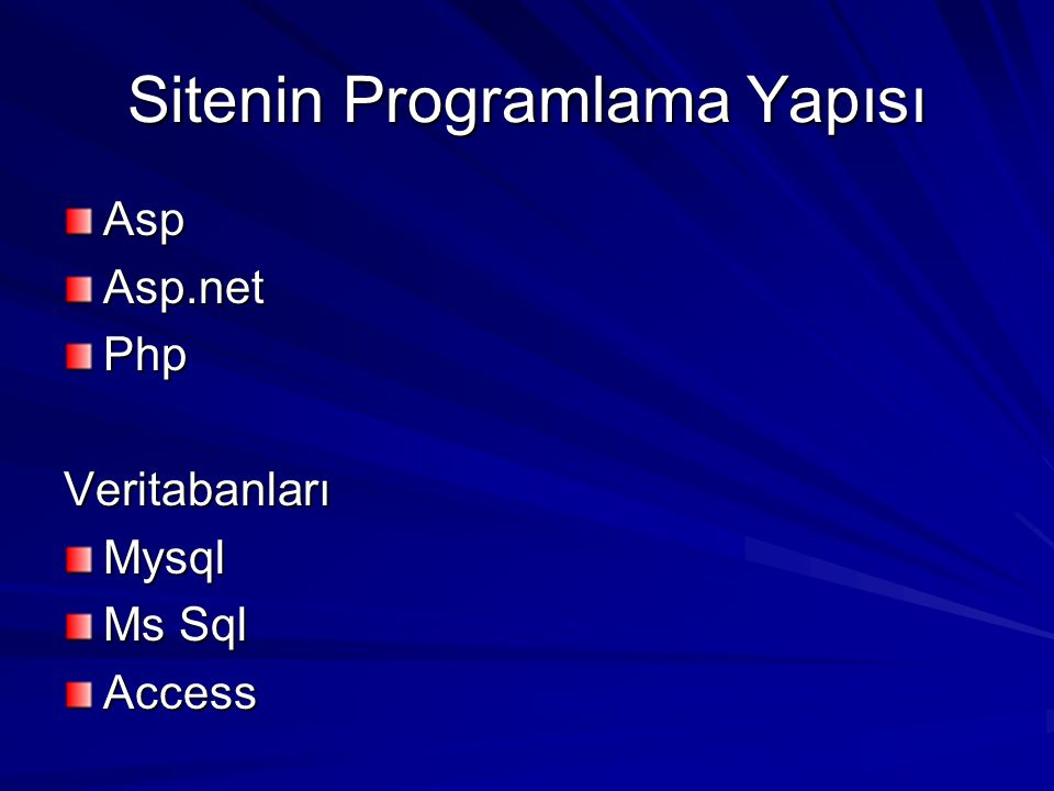 Sitenin Programlama Yapısı AspAsp.netPhpVeritabanlarıMysql Ms Sql Access