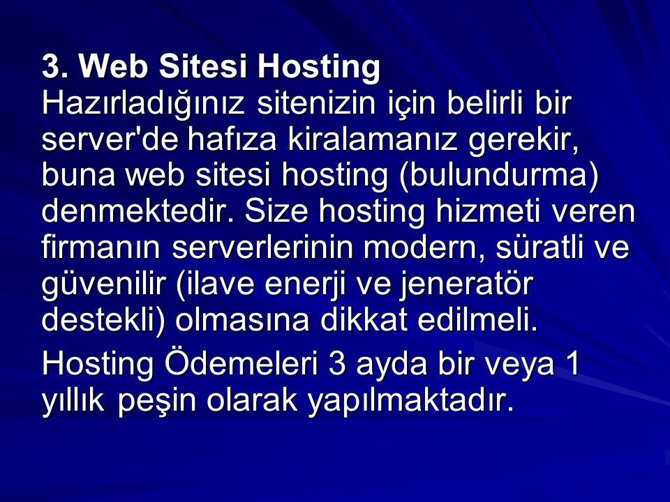 3. Web Sitesi Hosting Hazırladığınız sitenizin için belirli bir server'de hafıza kiralamanız gerekir, buna web sitesi hosting (bulundurma) denmektedir