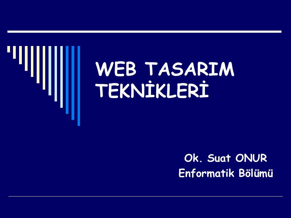 WEB TASARIM TEKNİKLERİ Ok. Suat ONUR Enformatik Bölümü