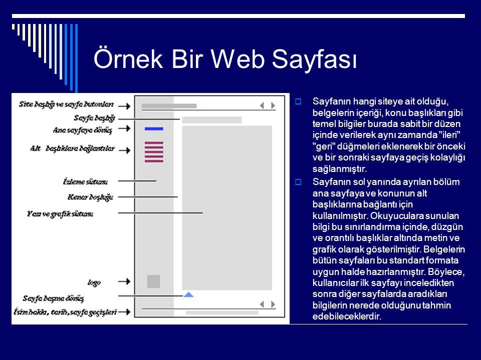 Örnek Bir Web Sayfası  Sayfanın hangi siteye ait olduğu, belgelerin içeriği, konu başlıkları gibi temel bilgiler burada sabit bir düzen içinde verile
