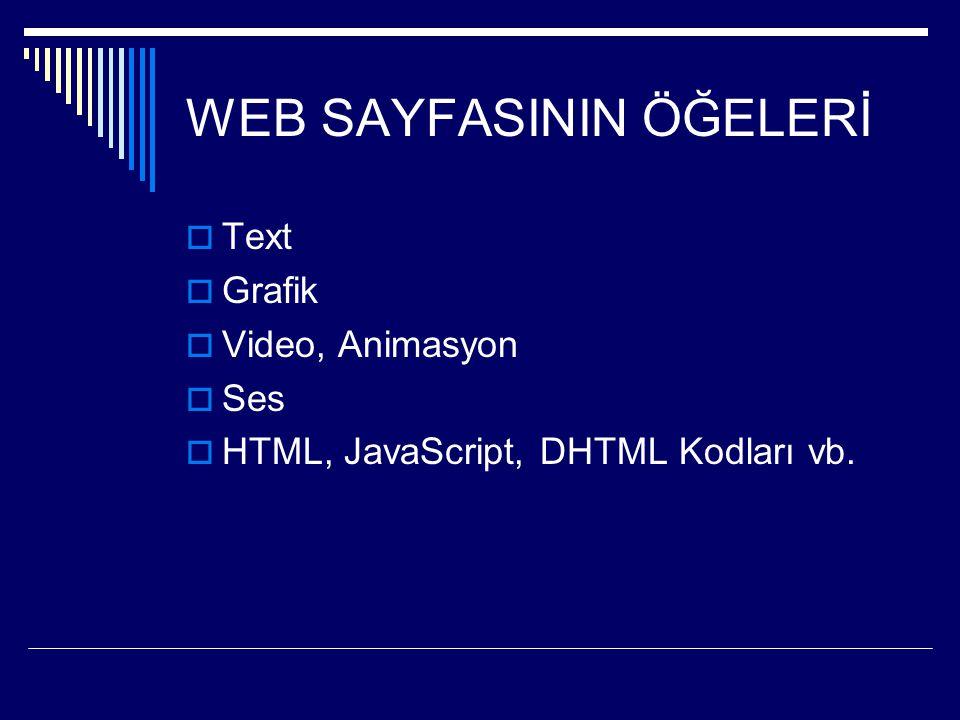 WEB SAYFASININ ÖĞELERİ  Text  Grafik  Video, Animasyon  Ses  HTML, JavaScript, DHTML Kodları vb.