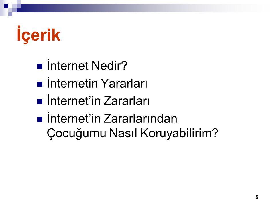 2 İçerik  İnternet Nedir?  İnternetin Yararları  İnternet'in Zararları  İnternet'in Zararlarından Çocuğumu Nasıl Koruyabilirim?
