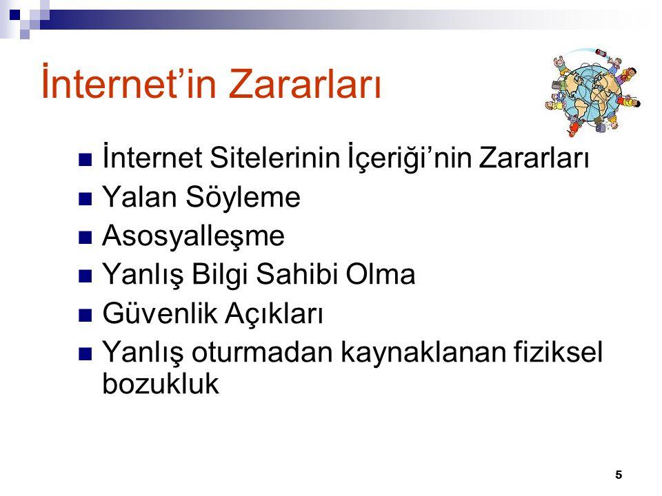 5 İnternet'in Zararları  İnternet Sitelerinin İçeriği'nin Zararları  Yalan Söyleme  Asosyalleşme  Yanlış Bilgi Sahibi Olma  Güvenlik Açıkları  Y