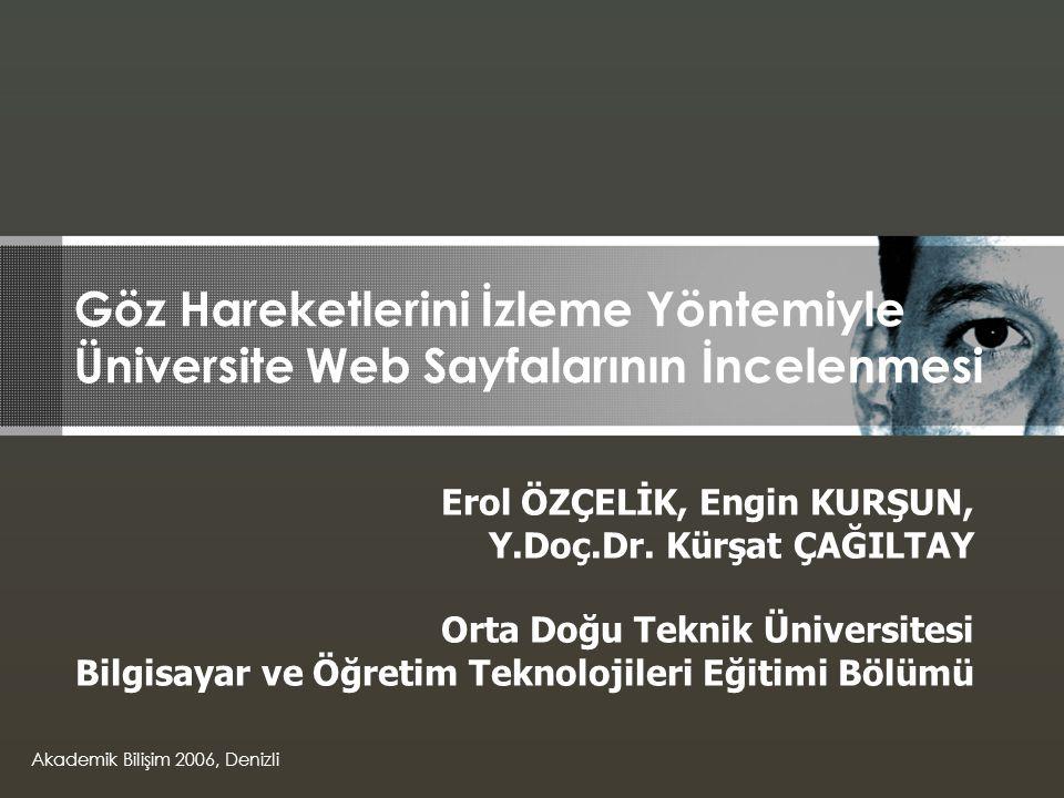 Göz Hareketlerini İzleme Yöntemiyle Üniversite Web Sayfalarının İncelenmesi Erol ÖZÇELİK, Engin KURŞUN, Y.Doç.Dr.