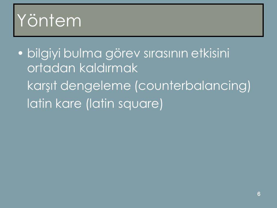 6 Yöntem •bilgiyi bulma görev sırasının etkisini ortadan kaldırmak karşıt dengeleme (counterbalancing) latin kare (latin square)