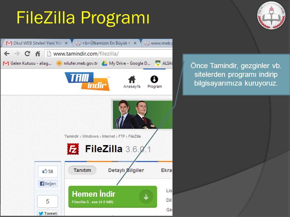 Önce Tamindir, gezginler vb. sitelerden programı indirip bilgisayarımıza kuruyoruz. FileZilla Programı