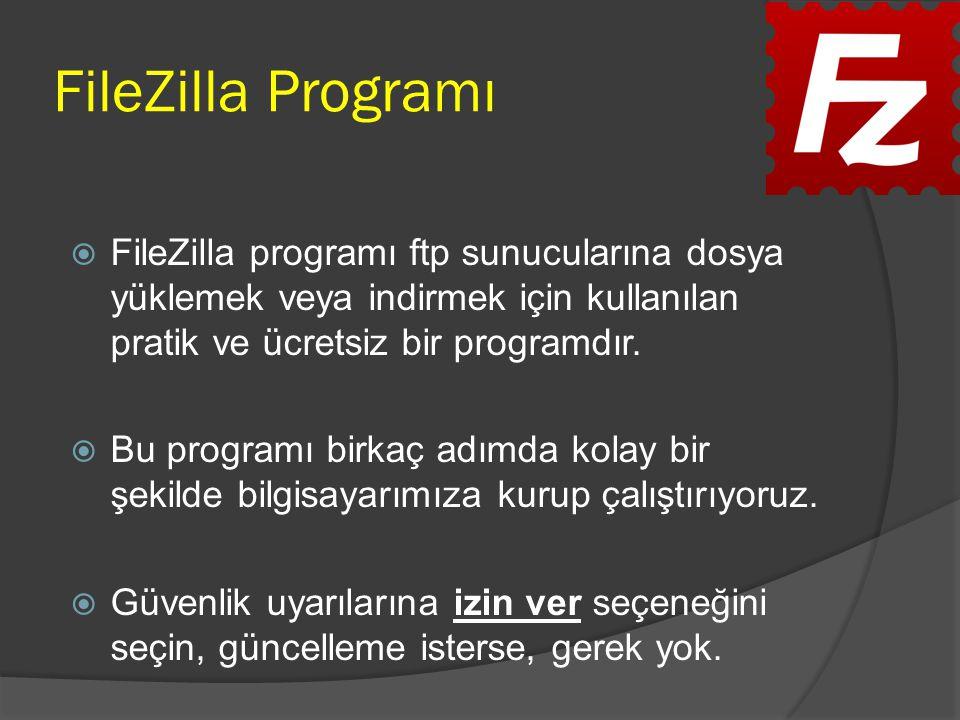 FileZilla programı ftp sunucularına dosya yüklemek veya indirmek için kullanılan pratik ve ücretsiz bir programdır.  Bu programı birkaç adımda kola