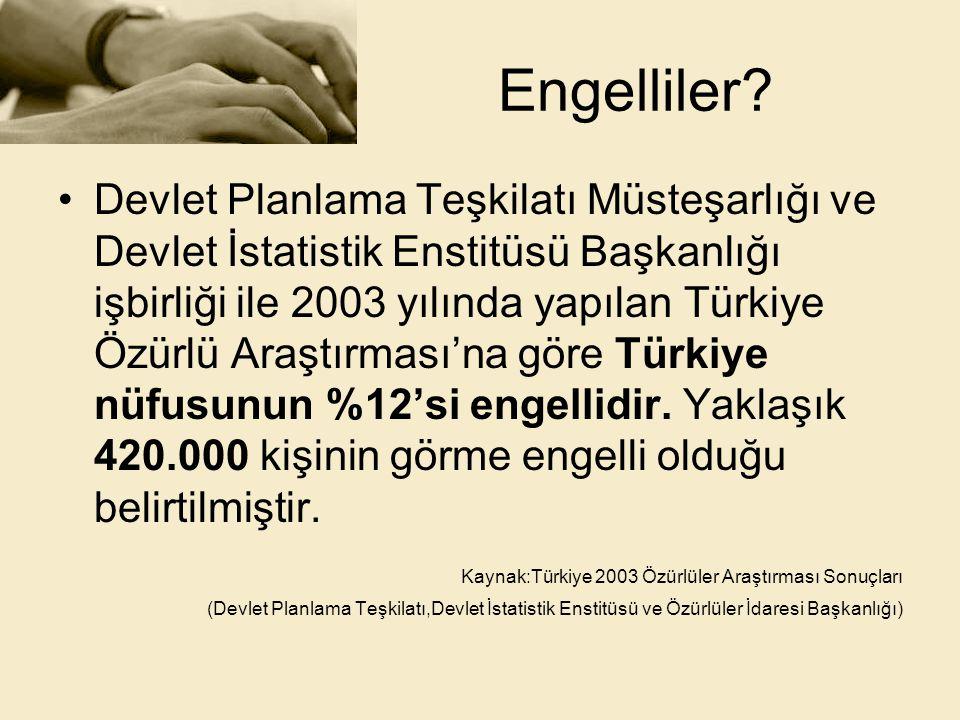 Engelliler? •Devlet Planlama Teşkilatı Müsteşarlığı ve Devlet İstatistik Enstitüsü Başkanlığı işbirliği ile 2003 yılında yapılan Türkiye Özürlü Araştı