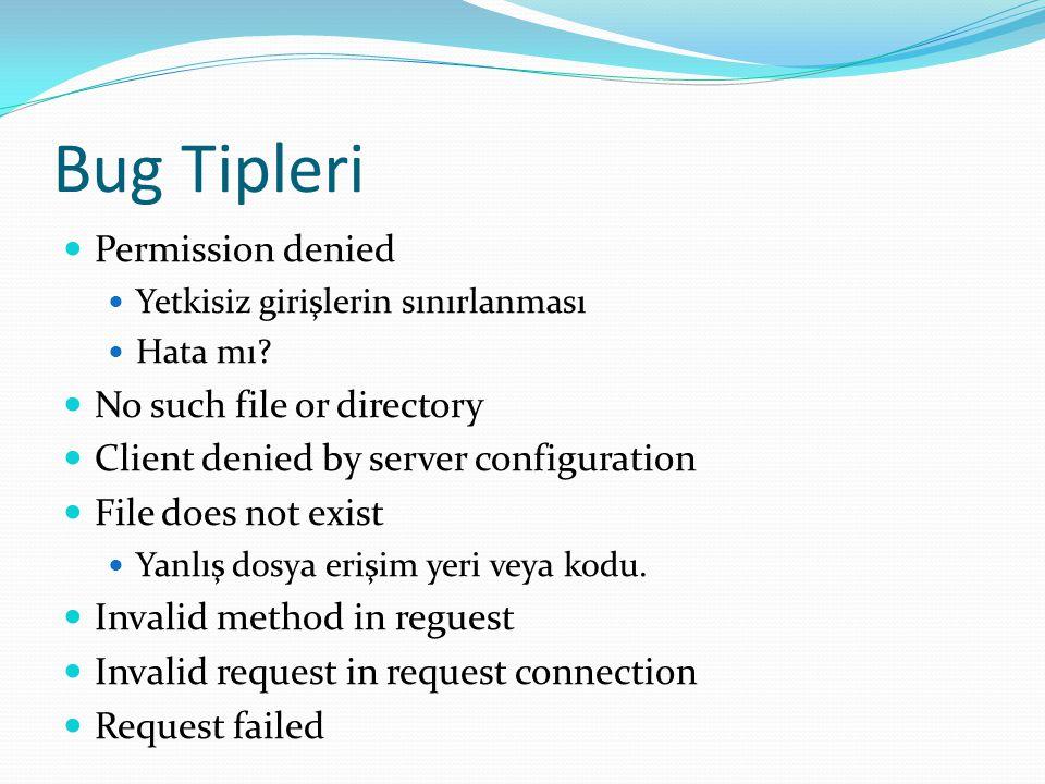 Bug Tipleri  Permission denied  Yetkisiz girişlerin sınırlanması  Hata mı?  No such file or directory  Client denied by server configuration  Fi