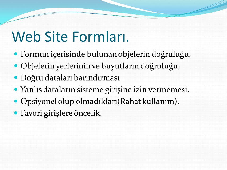Web Site Formları.  Formun içerisinde bulunan objelerin doğruluğu.  Objelerin yerlerinin ve buyutların doğruluğu.  Doğru dataları barındırması  Ya