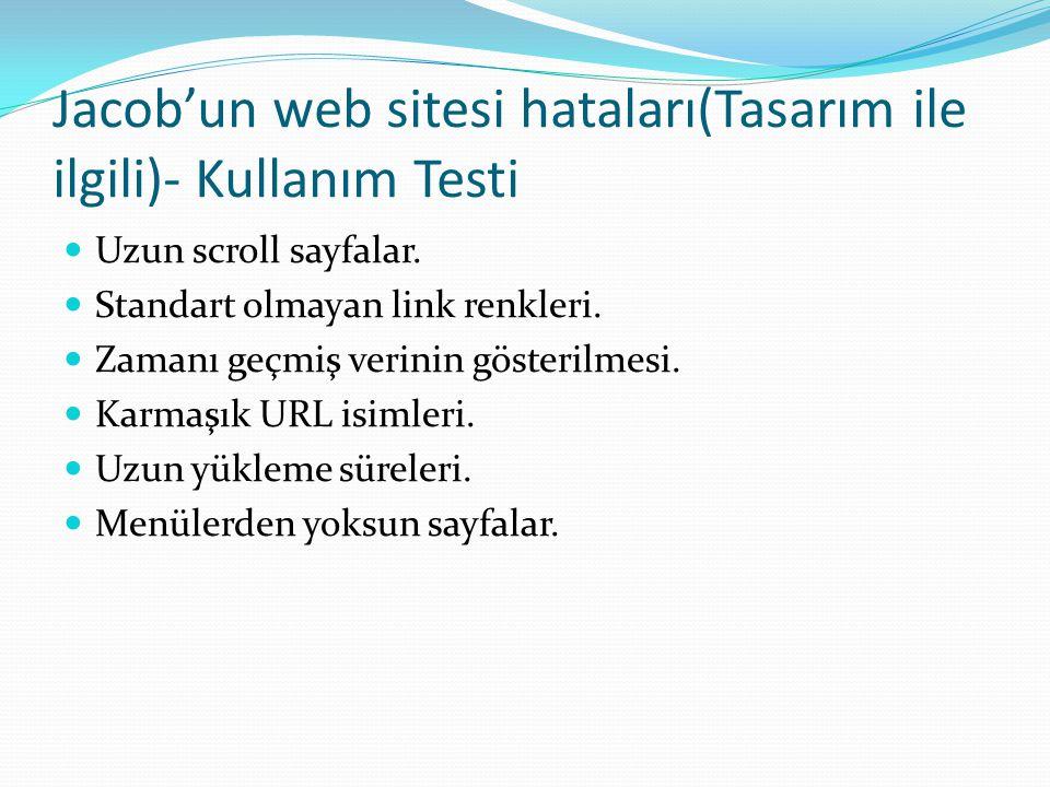 Jacob'un web sitesi hataları(Tasarım ile ilgili)- Kullanım Testi  Uzun scroll sayfalar.  Standart olmayan link renkleri.  Zamanı geçmiş verinin gös
