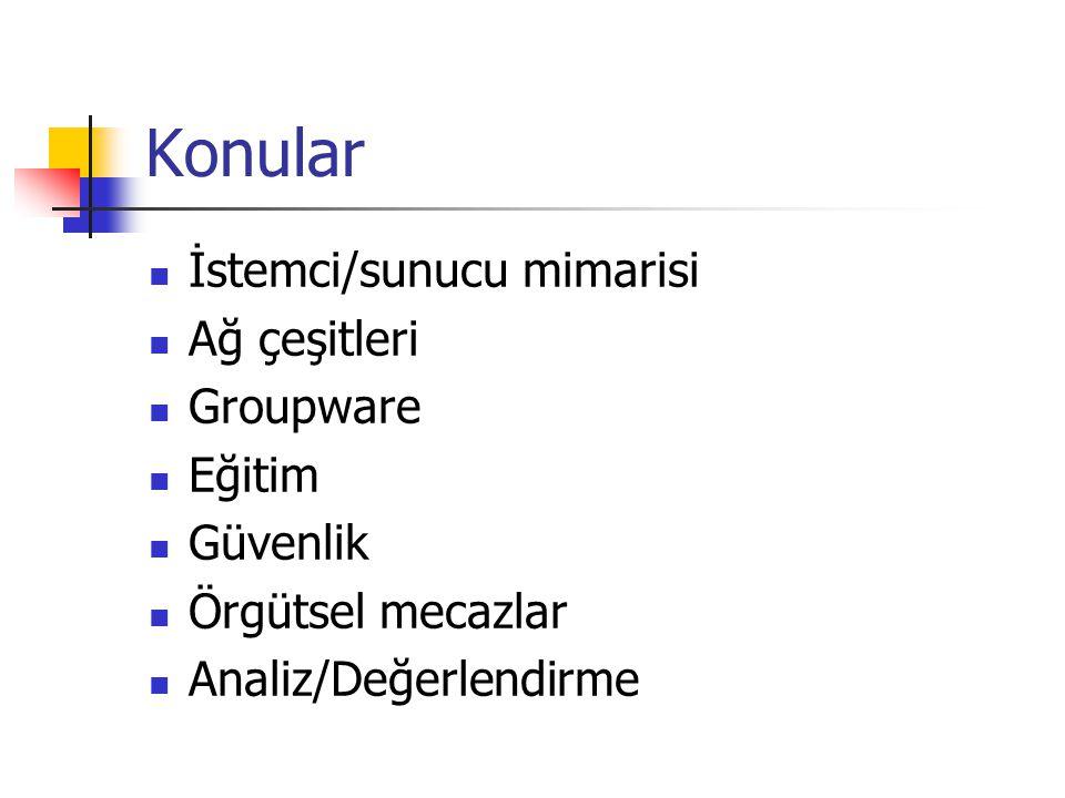 Groupware Bir örgütte birlikte iş yapan kullanıcıların ihtiyaçlarına yönelik yazılımlar.