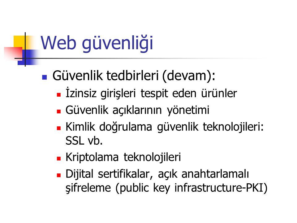 Web güvenliği  Güvenlik tedbirleri (devam):  İzinsiz girişleri tespit eden ürünler  Güvenlik açıklarının yönetimi  Kimlik doğrulama güvenlik teknolojileri: SSL vb.