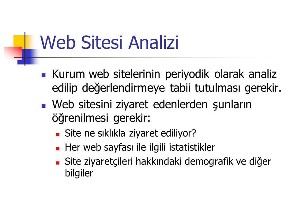 Web Sitesi Analizi  Kurum web sitelerinin periyodik olarak analiz edilip değerlendirmeye tabii tutulması gerekir.