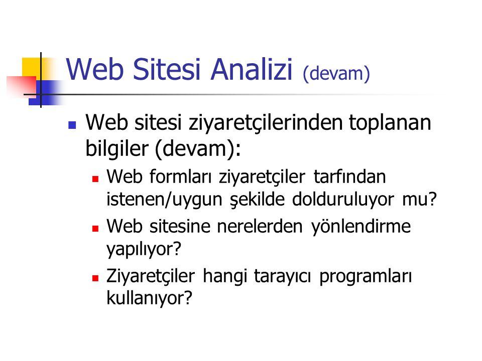Web Sitesi Analizi (devam)  Web sitesi ziyaretçilerinden toplanan bilgiler (devam):  Web formları ziyaretçiler tarfından istenen/uygun şekilde dolduruluyor mu.