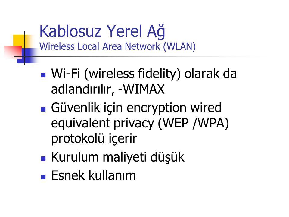 Kablosuz Yerel Ağ Wireless Local Area Network (WLAN)  Wi-Fi (wireless fidelity) olarak da adlandırılır, -WIMAX  Güvenlik için encryption wired equivalent privacy (WEP /WPA) protokolü içerir  Kurulum maliyeti düşük  Esnek kullanım