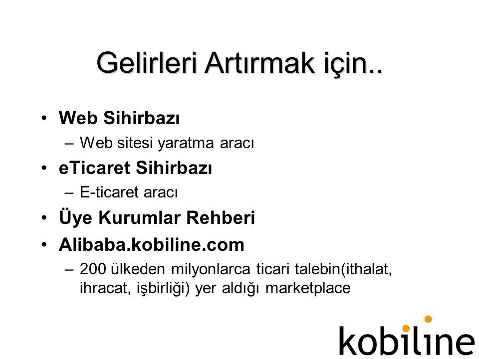 Gelirleri Artırmak için.. •Web Sihirbazı –Web sitesi yaratma aracı •eTicaret Sihirbazı –E-ticaret aracı •Üye Kurumlar Rehberi •Alibaba.kobiline.com –2