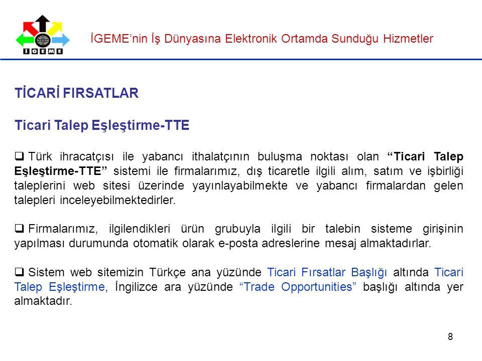 8 TİCARİ FIRSATLAR Ticari Talep Eşleştirme-TTE  Türk ihracatçısı ile yabancı ithalatçının buluşma noktası olan Ticari Talep Eşleştirme-TTE sistemi ile firmalarımız, dış ticaretle ilgili alım, satım ve işbirliği taleplerini web sitesi üzerinde yayınlayabilmekte ve yabancı firmalardan gelen talepleri inceleyebilmektedirler.