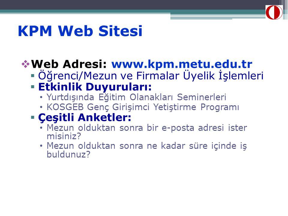 KPM Web Sitesi  Web Adresi: www.kpm.metu.edu.tr  Öğrenci/Mezun ve Firmalar Üyelik İşlemleri  Etkinlik Duyuruları: • Yurtdışında Eğitim Olanakları S