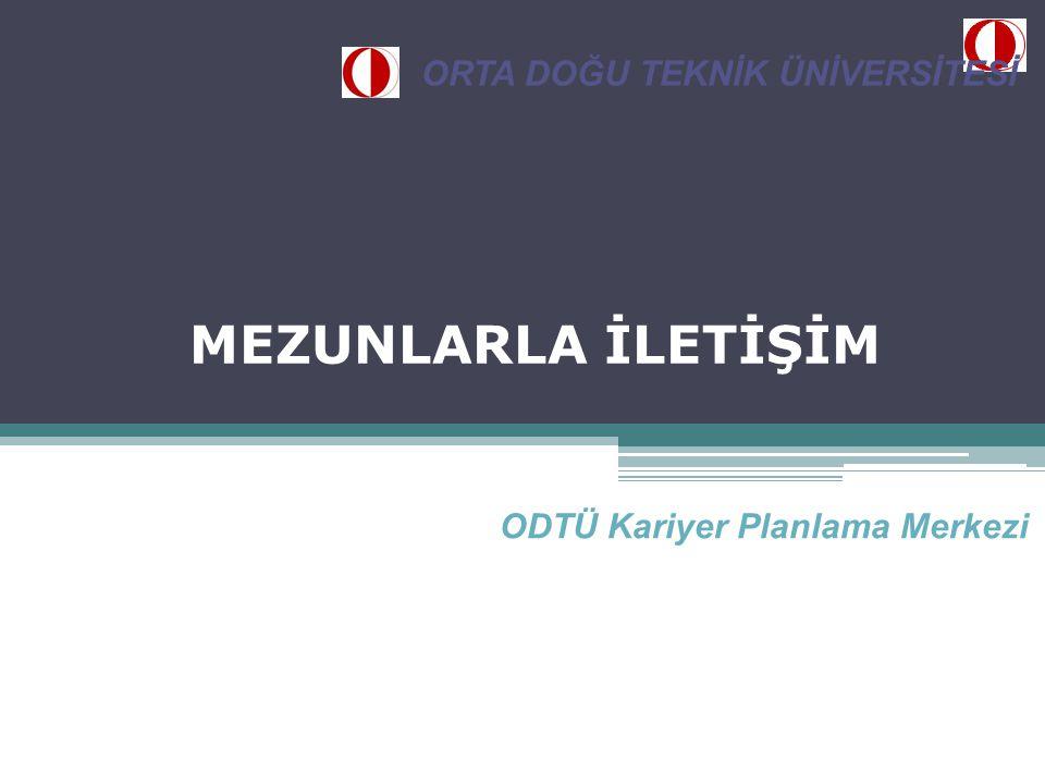 MEZUNLARLA İLETİŞİM ODTÜ Kariyer Planlama Merkezi ORTA DOĞU TEKNİK ÜNİVERSİTESİ