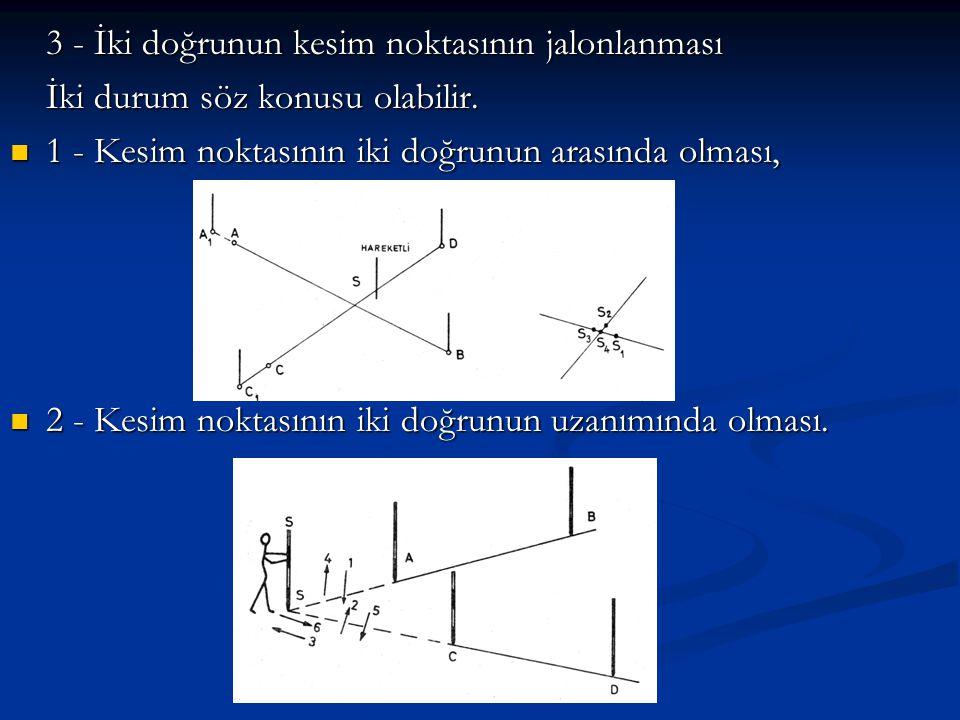 3 - İki doğrunun kesim noktasının jalonlanması İki durum söz konusu olabilir.  1 - Kesim noktasının iki doğrunun arasında olması,  2 - Kesim noktası