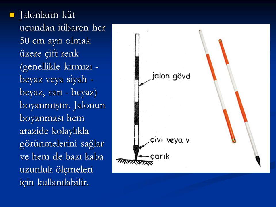  Önemli olan nokta jalonların bir noktayı belirteceğinden, bunların düşey olarak tutulması veya dikilmesi gereğidir (Şekil 6.17).