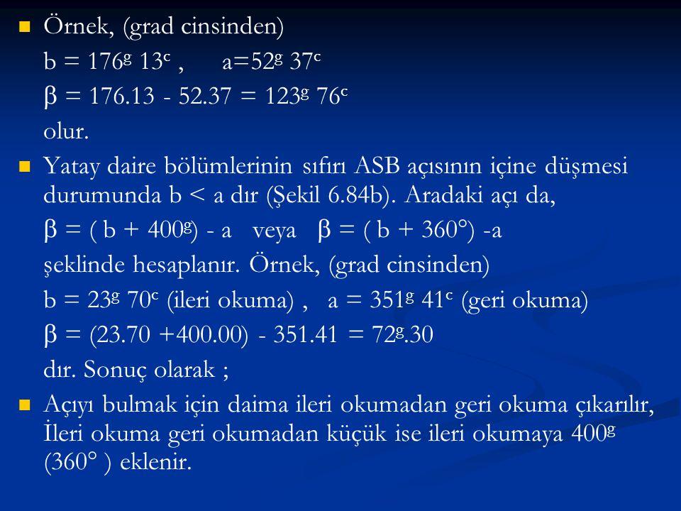   Örnek, (grad cinsinden) b = 176 g 13 c,a=52 g 37 c  = 176.13 - 52.37 = 123 g 76 c olur.   Yatay daire bölümlerinin sıfırı ASB açısının içine dü