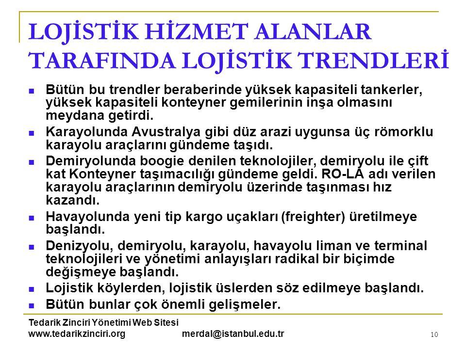 Tedarik Zinciri Yönetimi Web Sitesi www.tedarikzinciri.org merdal@istanbul.edu.tr 10 LOJİSTİK HİZMET ALANLAR TARAFINDA LOJİSTİK TRENDLERİ  Bütün bu t