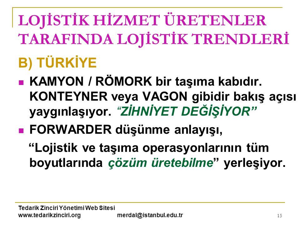 Tedarik Zinciri Yönetimi Web Sitesi www.tedarikzinciri.org merdal@istanbul.edu.tr 15 LOJİSTİK HİZMET ÜRETENLER TARAFINDA LOJİSTİK TRENDLERİ B) TÜRKİYE