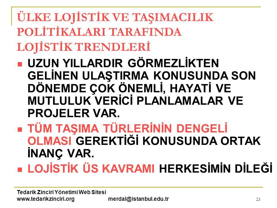 Tedarik Zinciri Yönetimi Web Sitesi www.tedarikzinciri.org merdal@istanbul.edu.tr 23  UZUN YILLARDIR GÖRMEZLİKTEN GELİNEN ULAŞTIRMA KONUSUNDA SON DÖN