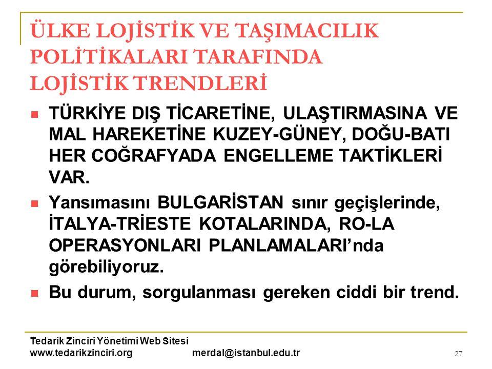 Tedarik Zinciri Yönetimi Web Sitesi www.tedarikzinciri.org merdal@istanbul.edu.tr 27  TÜRKİYE DIŞ TİCARETİNE, ULAŞTIRMASINA VE MAL HAREKETİNE KUZEY-G