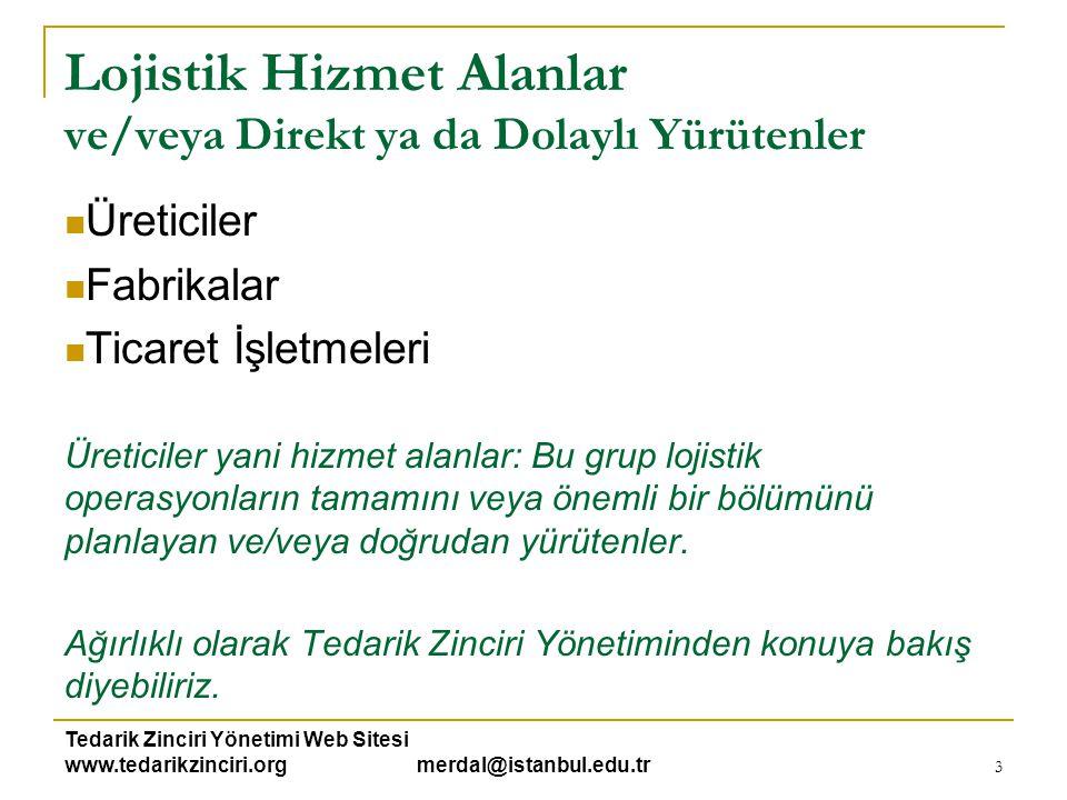 Tedarik Zinciri Yönetimi Web Sitesi www.tedarikzinciri.org merdal@istanbul.edu.tr 3 Lojistik Hizmet Alanlar ve/veya Direkt ya da Dolaylı Yürütenler 