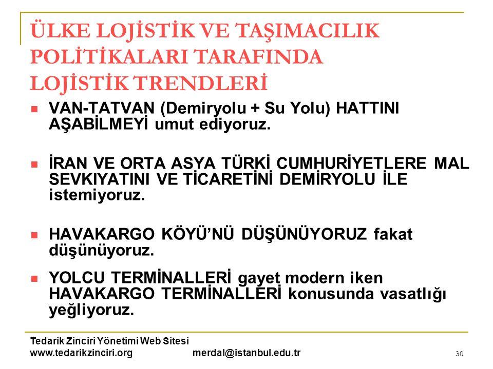 Tedarik Zinciri Yönetimi Web Sitesi www.tedarikzinciri.org merdal@istanbul.edu.tr 30  VAN-TATVAN (Demiryolu + Su Yolu) HATTINI AŞABİLMEYİ umut ediyor