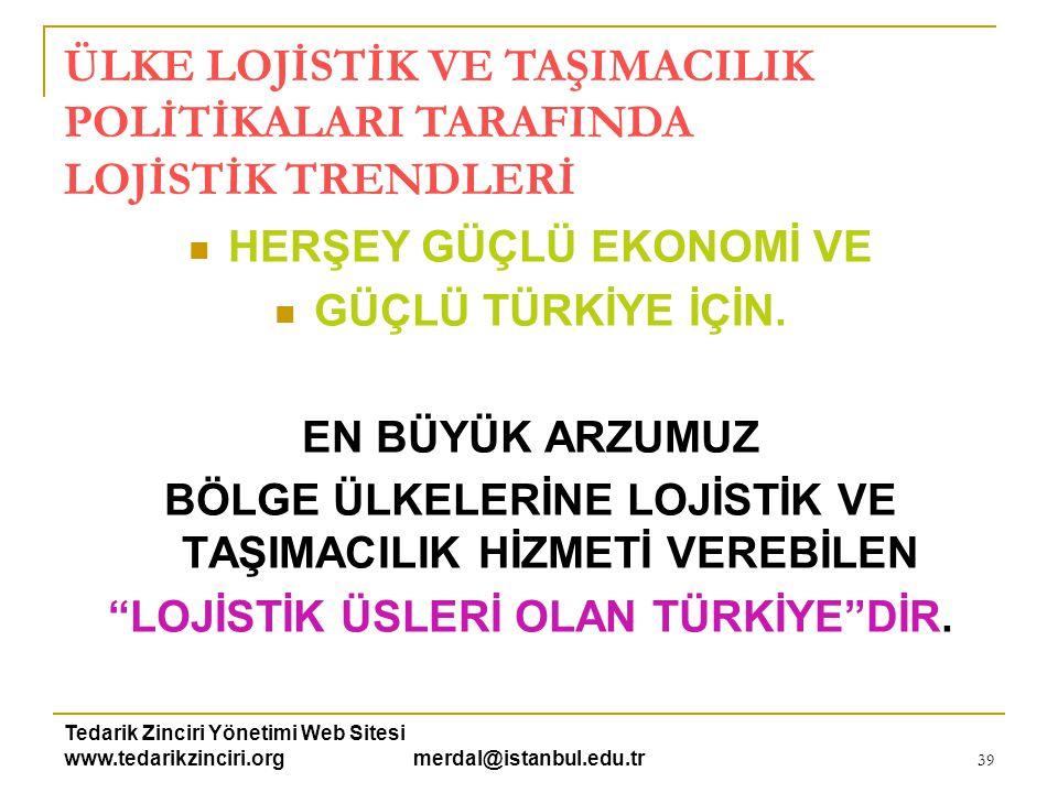 Tedarik Zinciri Yönetimi Web Sitesi www.tedarikzinciri.org merdal@istanbul.edu.tr 39  HERŞEY GÜÇLÜ EKONOMİ VE  GÜÇLÜ TÜRKİYE İÇİN. EN BÜYÜK ARZUMUZ