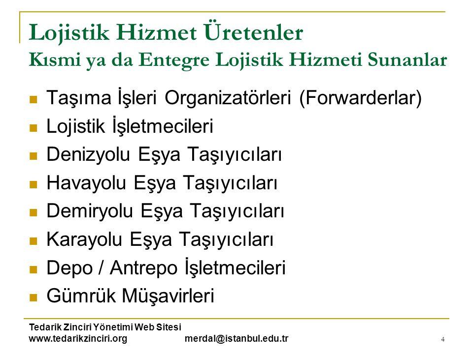 Tedarik Zinciri Yönetimi Web Sitesi www.tedarikzinciri.org merdal@istanbul.edu.tr 4 Lojistik Hizmet Üretenler Kısmi ya da Entegre Lojistik Hizmeti Sun