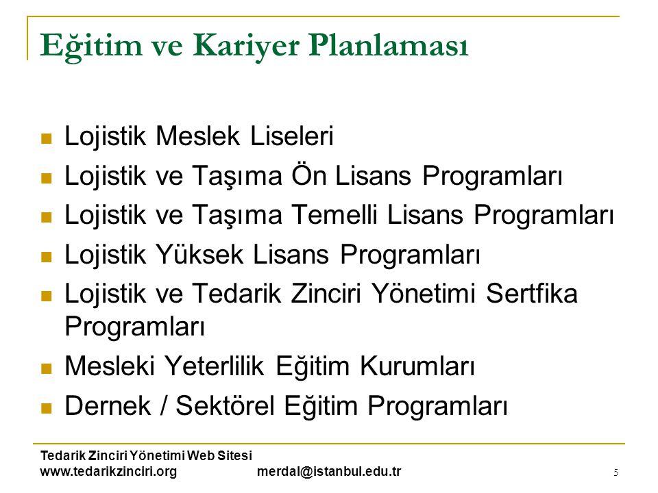 Tedarik Zinciri Yönetimi Web Sitesi www.tedarikzinciri.org merdal@istanbul.edu.tr 5 Eğitim ve Kariyer Planlaması  Lojistik Meslek Liseleri  Lojistik