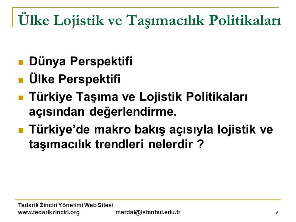 Tedarik Zinciri Yönetimi Web Sitesi www.tedarikzinciri.org merdal@istanbul.edu.tr 6 Ülke Lojistik ve Taşımacılık Politikaları  Dünya Perspektifi  Ül