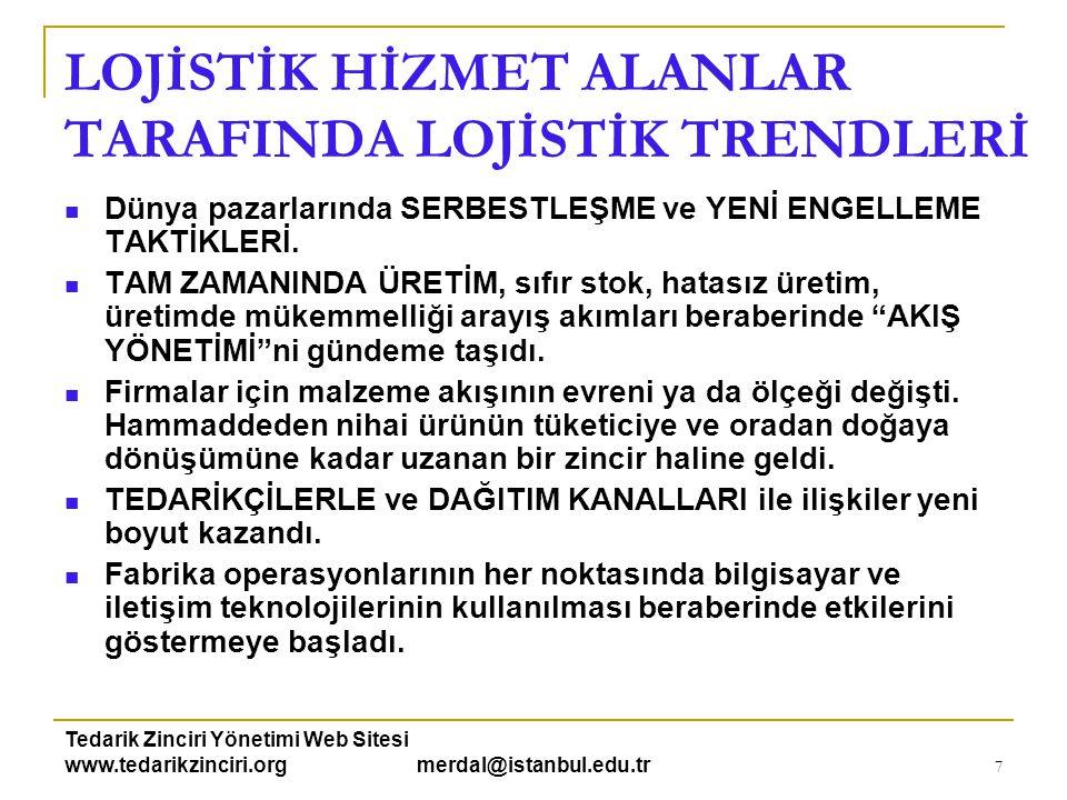 Tedarik Zinciri Yönetimi Web Sitesi www.tedarikzinciri.org merdal@istanbul.edu.tr 7 LOJİSTİK HİZMET ALANLAR TARAFINDA LOJİSTİK TRENDLERİ  Dünya pazar