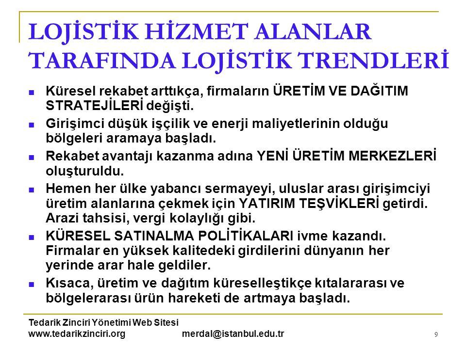Tedarik Zinciri Yönetimi Web Sitesi www.tedarikzinciri.org merdal@istanbul.edu.tr 9 LOJİSTİK HİZMET ALANLAR TARAFINDA LOJİSTİK TRENDLERİ  Küresel rek