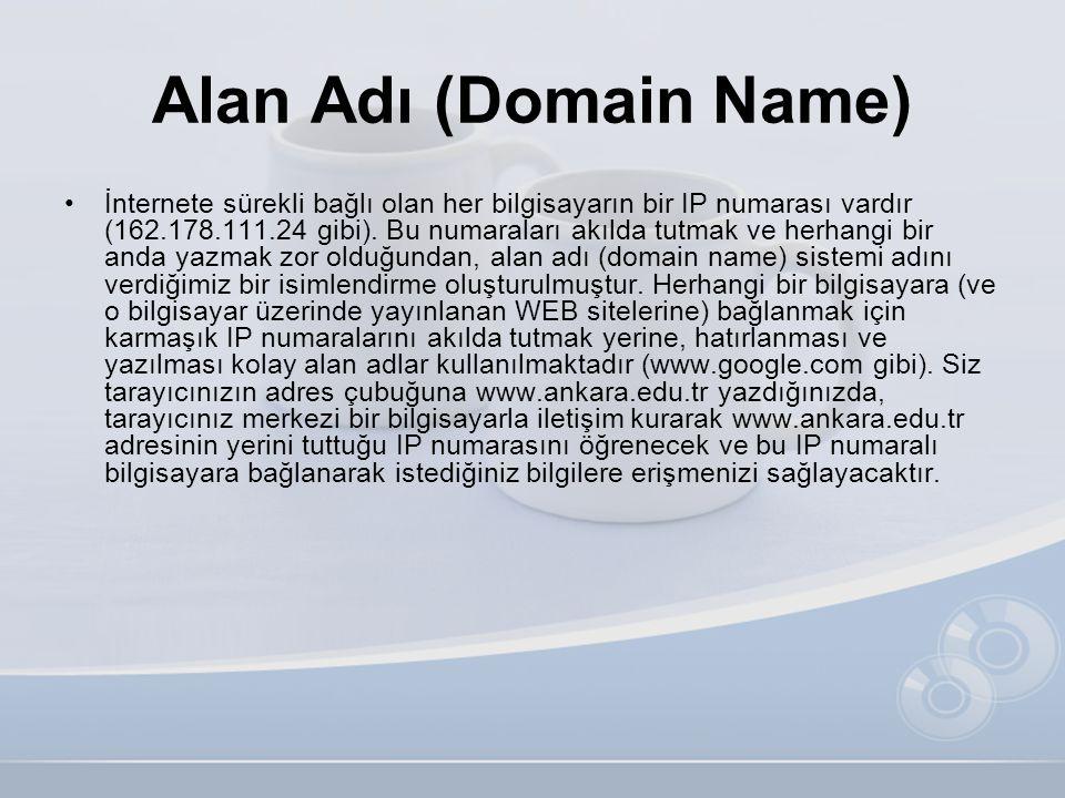 Alan Adı (Domain Name) •İnternete sürekli bağlı olan her bilgisayarın bir IP numarası vardır (162.178.111.24 gibi). Bu numaraları akılda tutmak ve her