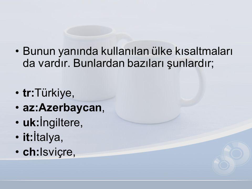 •Bunun yanında kullanılan ülke kısaltmaları da vardır. Bunlardan bazıları şunlardır; •tr:Türkiye, •az:Azerbaycan, •uk:İngiltere, •it:İtalya, •ch:Isviç