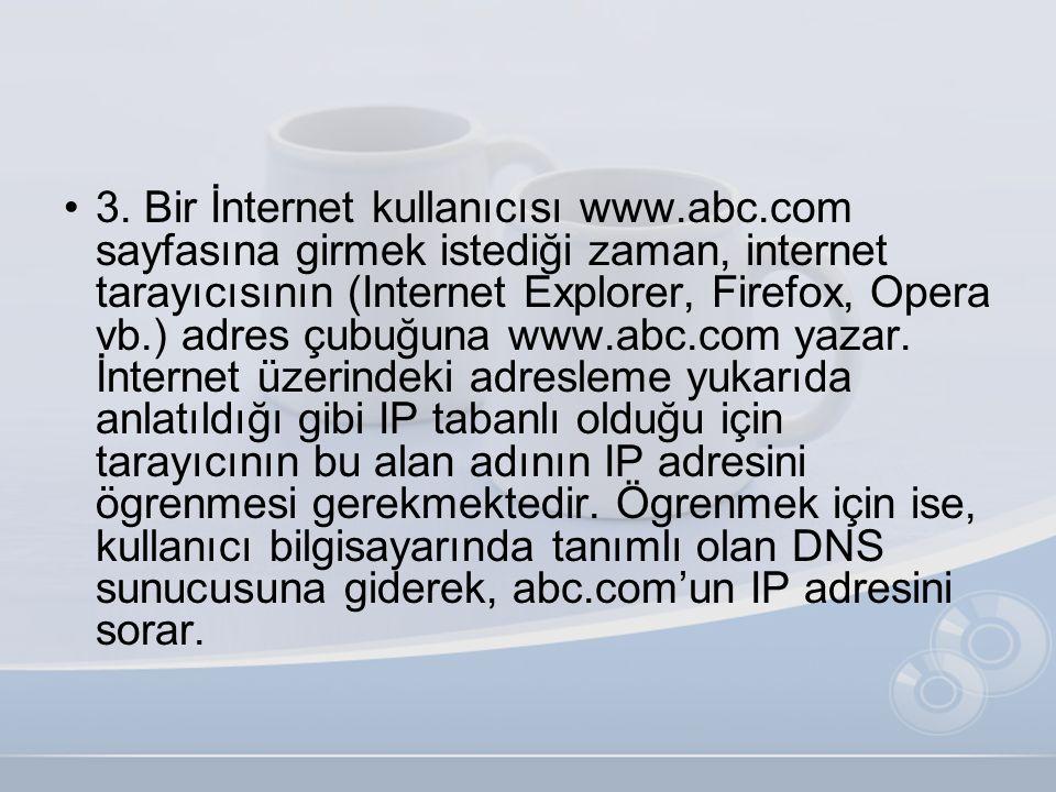 •3. Bir İnternet kullanıcısı www.abc.com sayfasına girmek istediği zaman, internet tarayıcısının (Internet Explorer, Firefox, Opera vb.) adres çubuğun