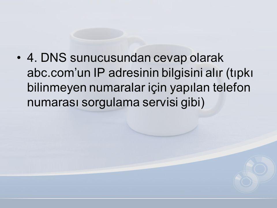 •4. DNS sunucusundan cevap olarak abc.com'un IP adresinin bilgisini alır (tıpkı bilinmeyen numaralar için yapılan telefon numarası sorgulama servisi g