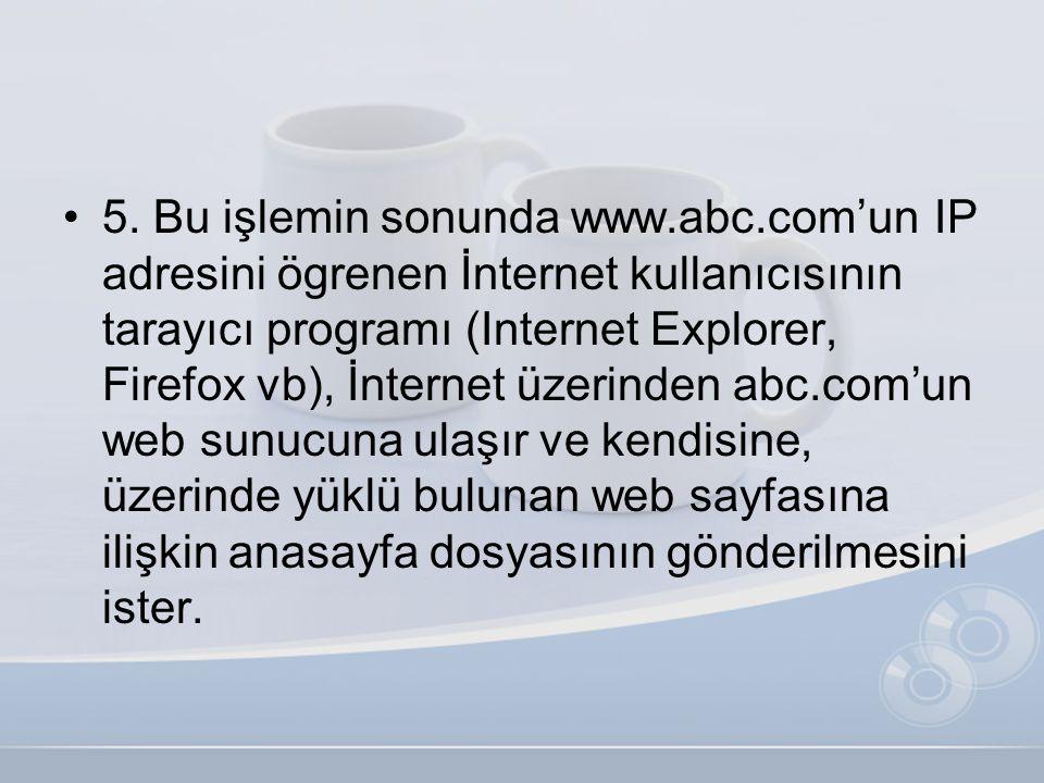 •5. Bu işlemin sonunda www.abc.com'un IP adresini ögrenen İnternet kullanıcısının tarayıcı programı (Internet Explorer, Firefox vb), İnternet üzerinde