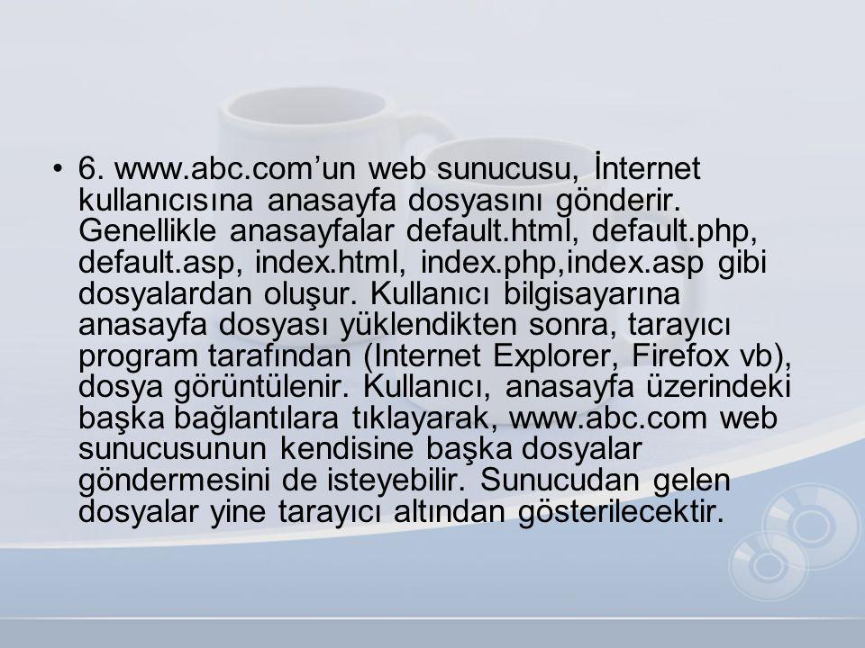 •6. www.abc.com'un web sunucusu, İnternet kullanıcısına anasayfa dosyasını gönderir. Genellikle anasayfalar default.html, default.php, default.asp, in