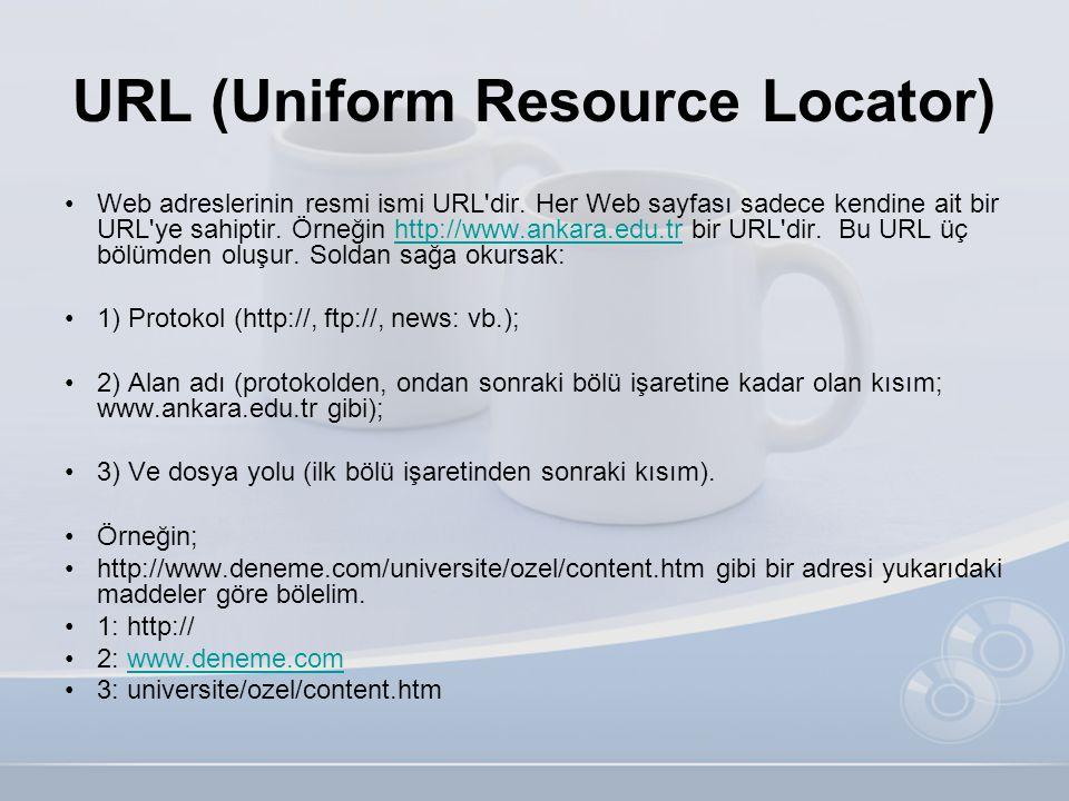 URL (Uniform Resource Locator) •Web adreslerinin resmi ismi URL'dir. Her Web sayfası sadece kendine ait bir URL'ye sahiptir. Örneğin http://www.ankara