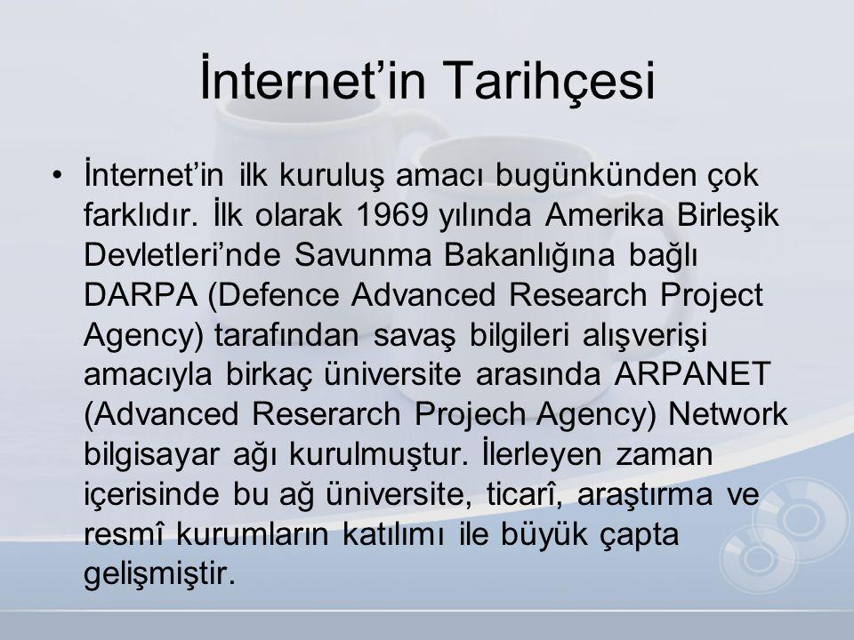 İnternet'in Tarihçesi •İnternet'in ilk kuruluş amacı bugünkünden çok farklıdır. İlk olarak 1969 yılında Amerika Birleşik Devletleri'nde Savunma Bakanl