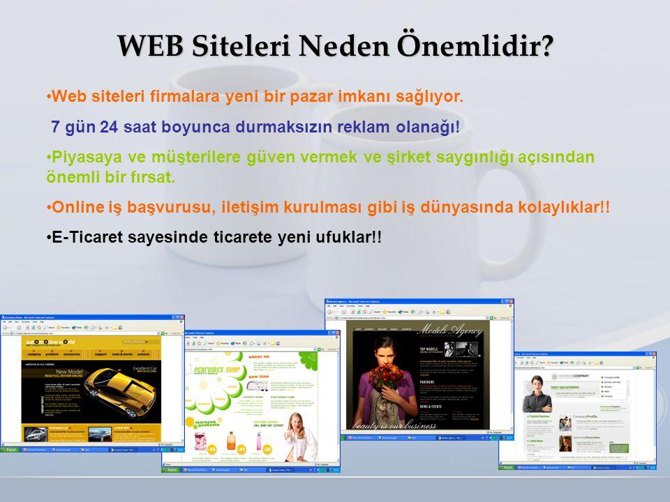 WEB Siteleri Neden Önemlidir? •Web siteleri firmalara yeni bir pazar imkanı sağlıyor. 7 gün 24 saat boyunca durmaksızın reklam olanağı! •Piyasaya ve m