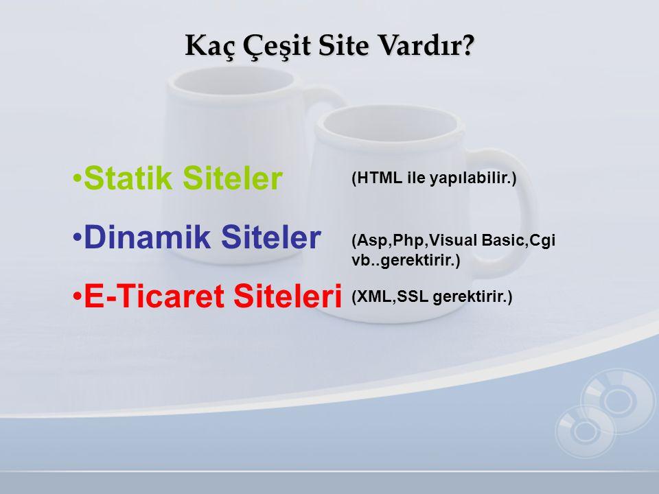 Kaç Çeşit Site Vardır? •S•Statik Siteler •D•Dinamik Siteler •E•E-Ticaret Siteleri (Asp,Php,Visual Basic,Cgi vb..gerektirir.) (HTML ile yapılabilir.) (